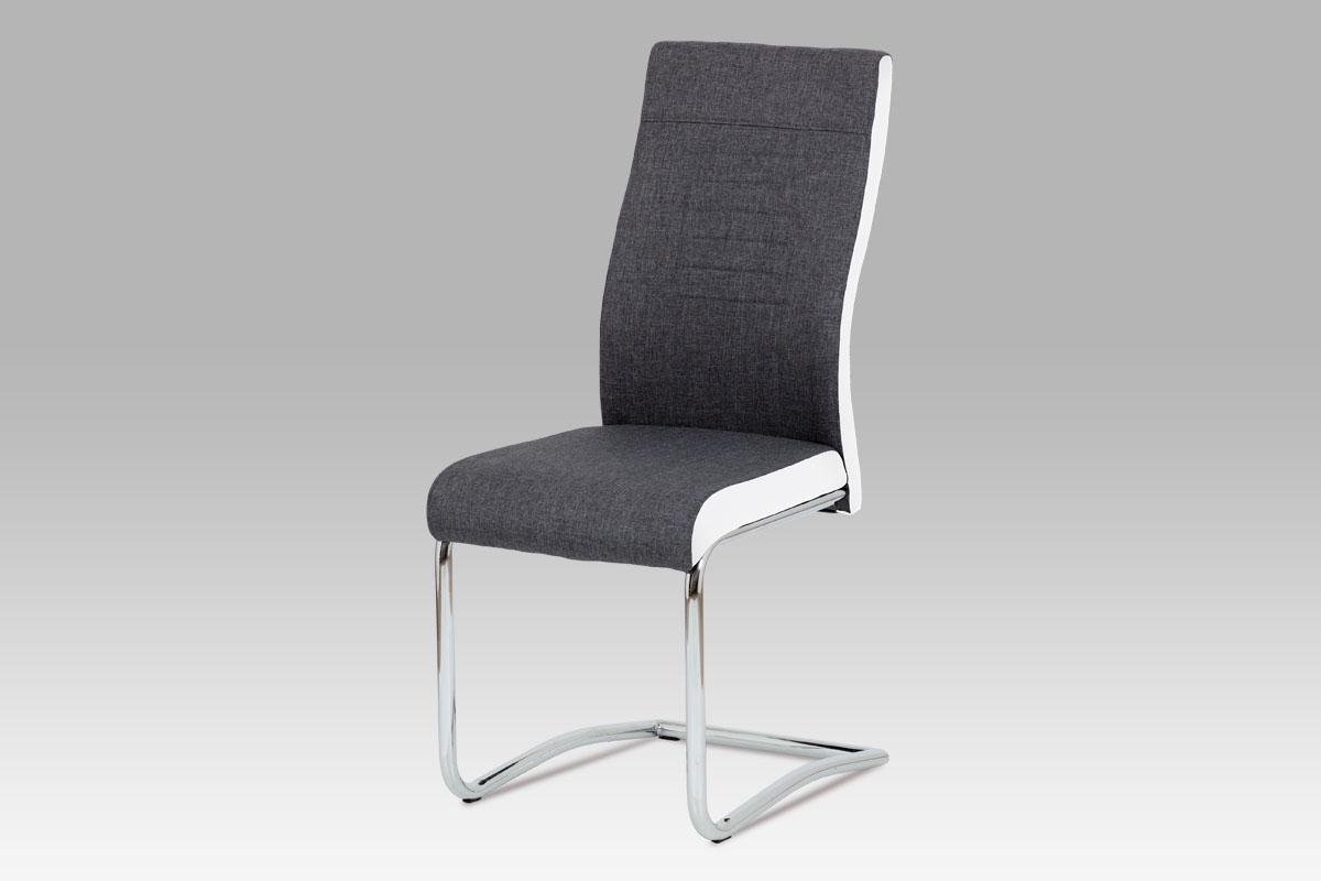 Jídelní židle DCL-428 GRWT2, šedá látka + bílá koženka / chrom