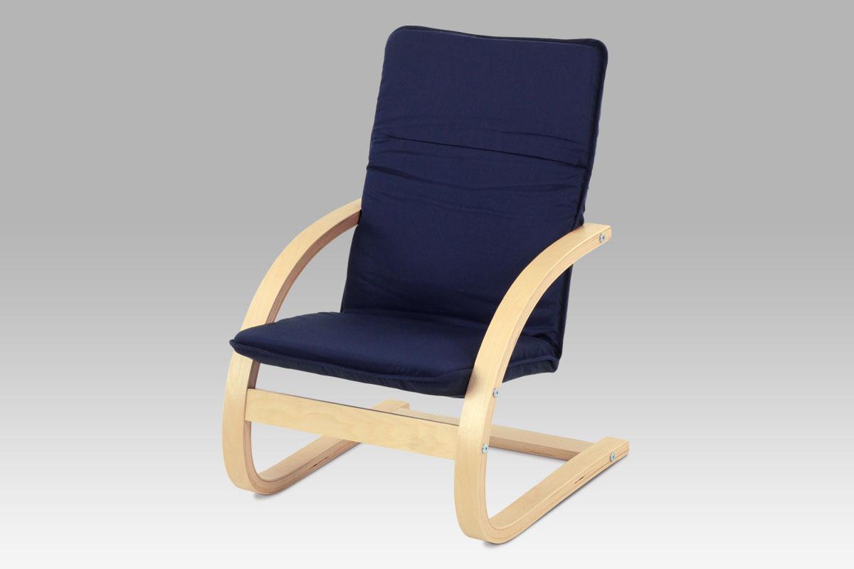 Dětské relaxační křeslo QR-06 BLUE, látka modrá / přírodní