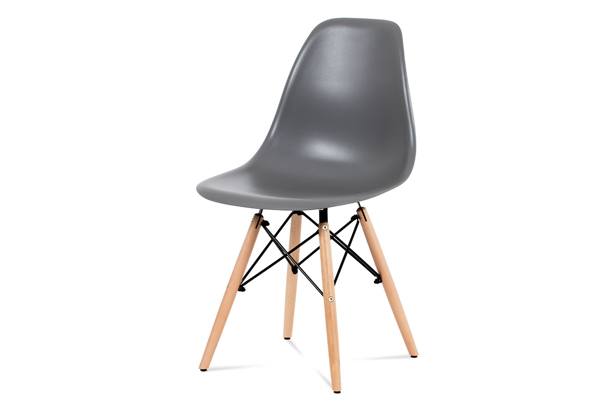 Jídelní židle CT-758 GREY, plast šedý / masiv buk / kov černý