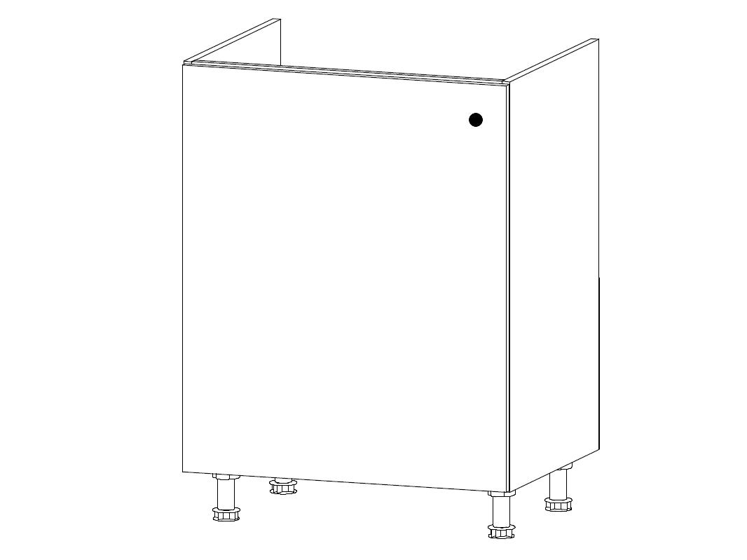 MISAEL dolní dřezová skříňka D60Z-L levá, korpus bílý, dvířka borovice andersen