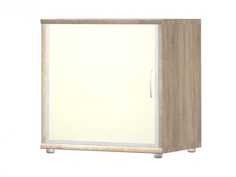 POINT komoda G5, dub bardolino/bílé sklo