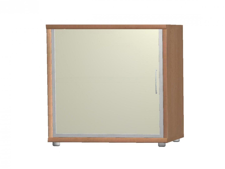 POINT komoda G5, buk/bílé sklo