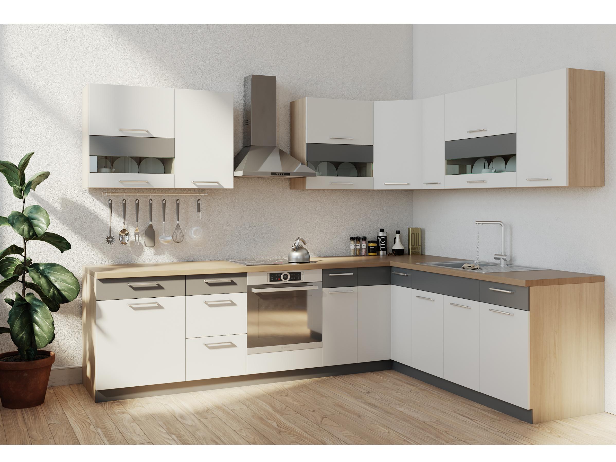 Rohová kuchyně MODENA 285x210, bílý lesk/grafit mat