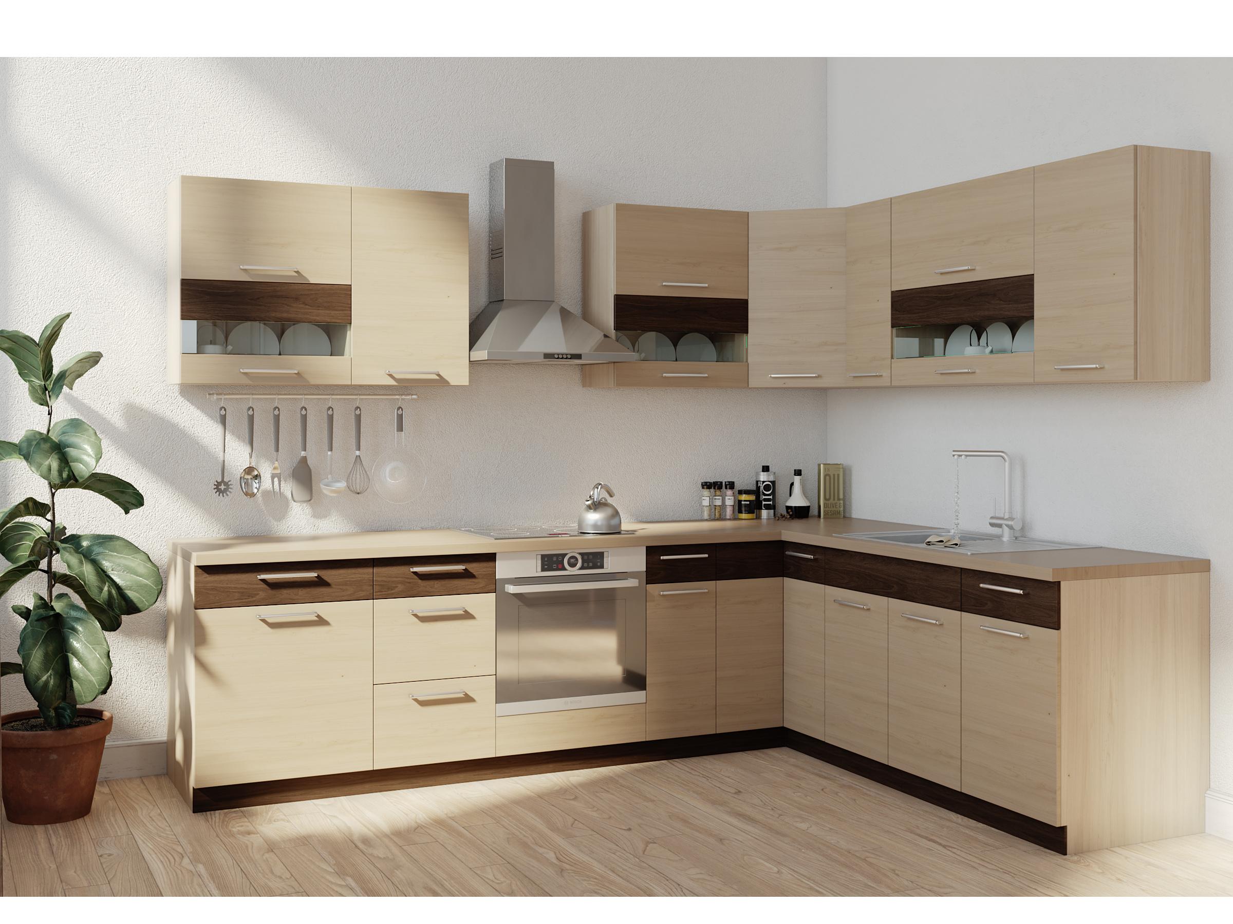 Rohová kuchyně MODENA 285x210, rijeka světlá
