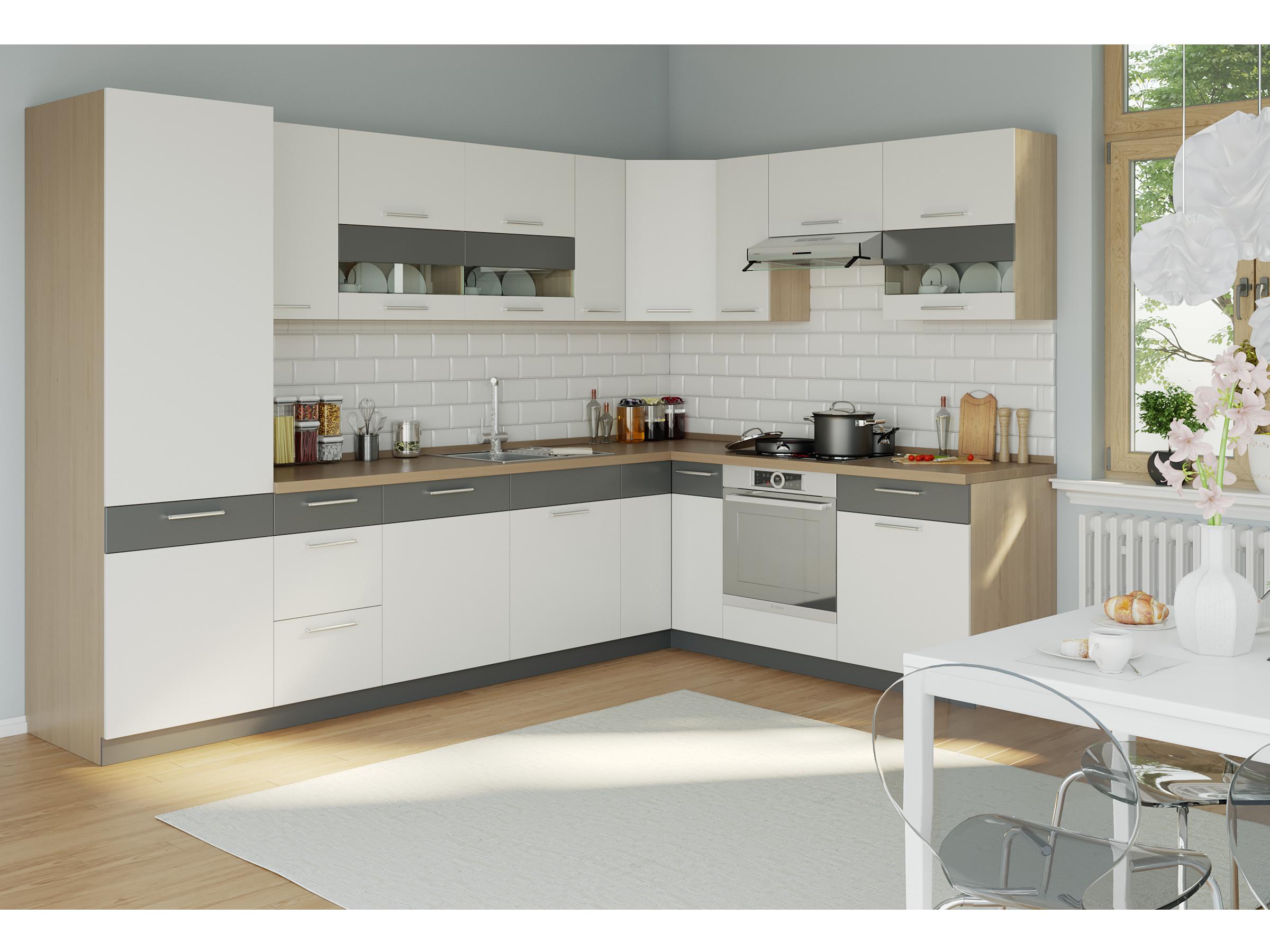 Rohová kuchyně MODENA 315x210, bílý lesk/grafit mat