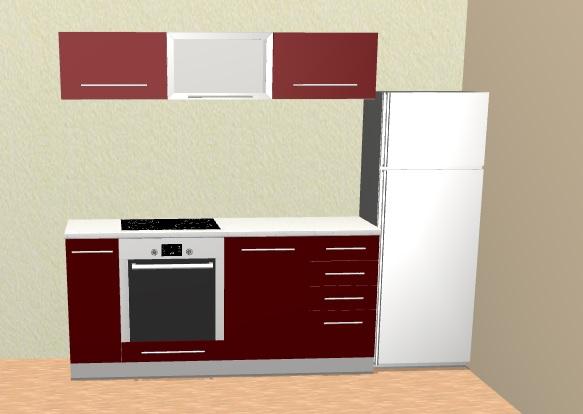 Extom Kuchyně PLATINUM 180 cm, korpus bílý, dvířka deep red