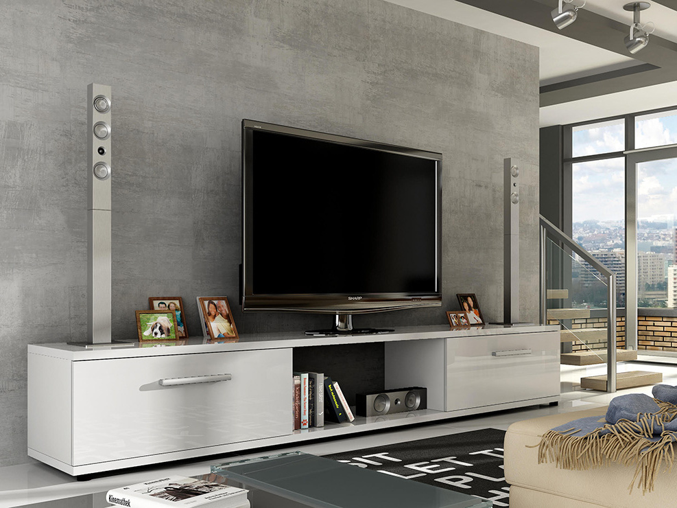 Televizní stolek LOBA RTV, bílá/bílý lesk