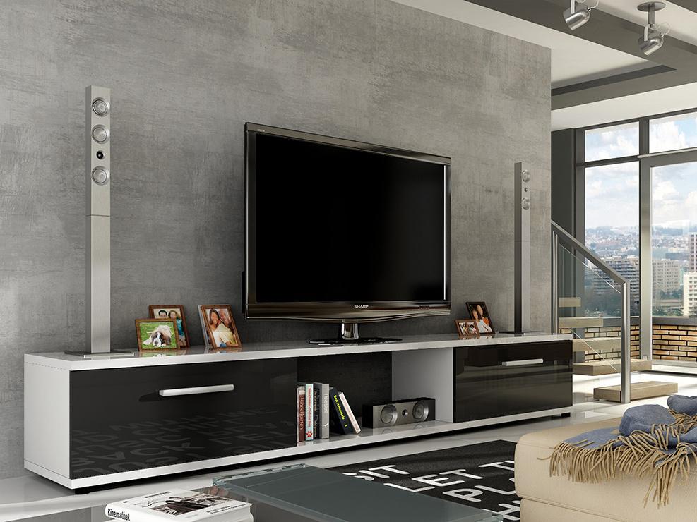 Televizní stolek LOBA RTV, bílá/černý lesk
