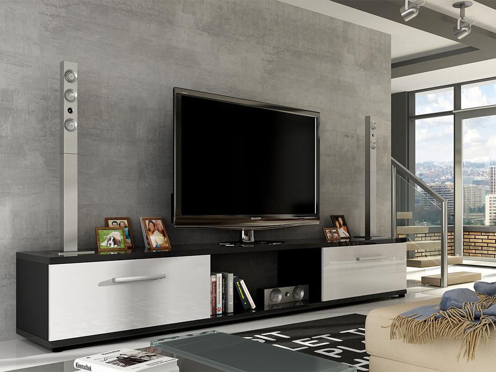Televizní stolek LOBA RTV, černá/bílý lesk