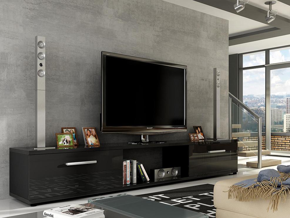 Televizní stolek LOBA RTV, černá/černý lesk