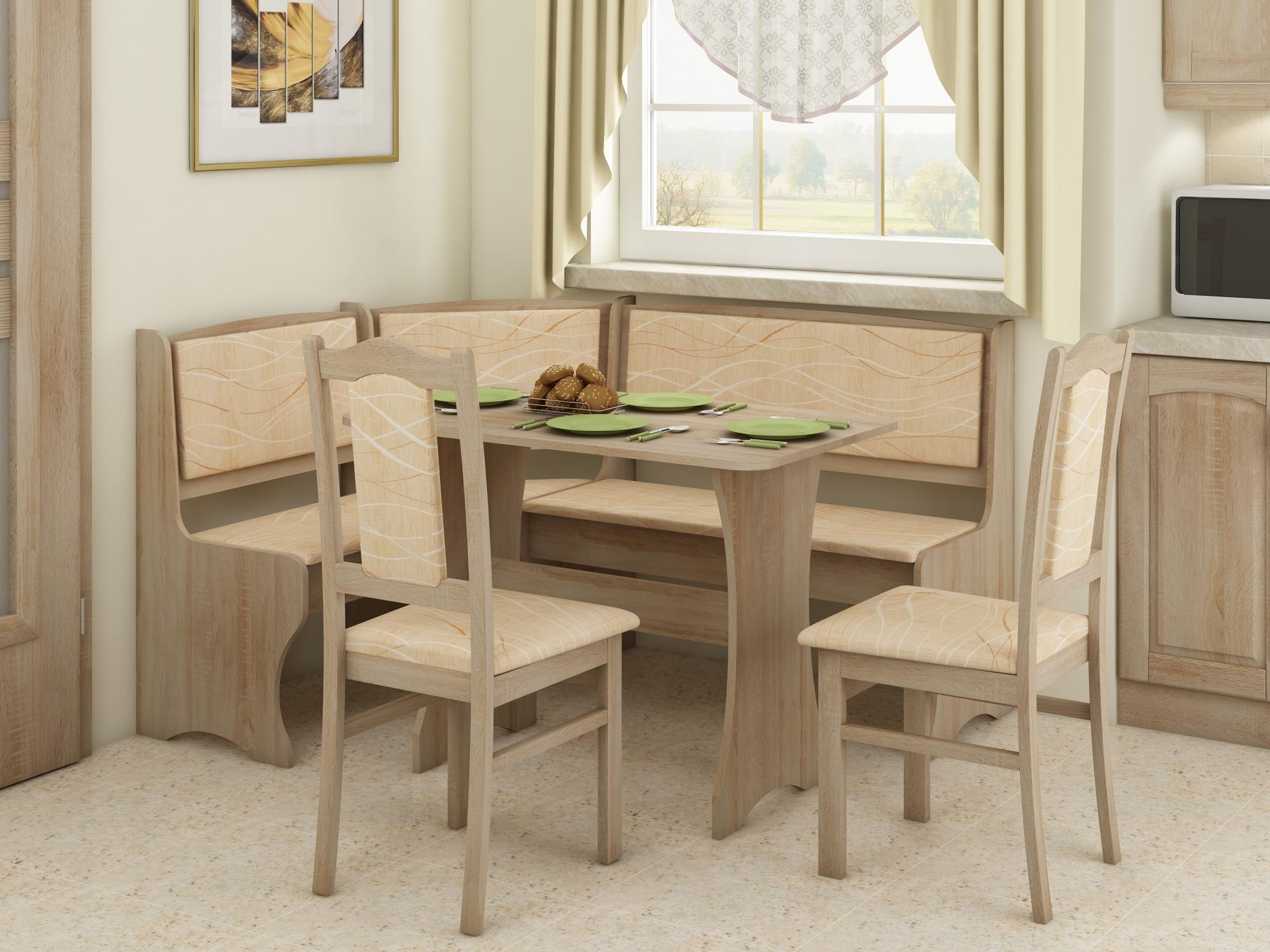 Jídelní rohový set se židlemi A, dub sonoma
