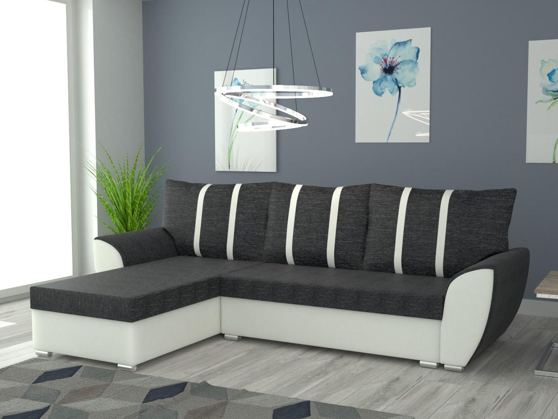 Rohová sedačka LEDEN univerzální, černá látka/bílá ekokůže