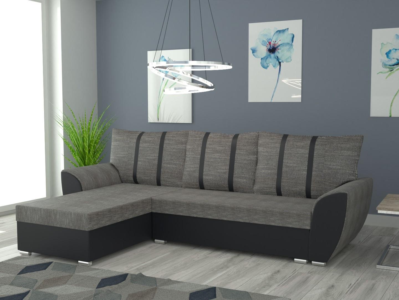 Rohová sedačka IRIS univerzální, šedá látka/černá ekokůže