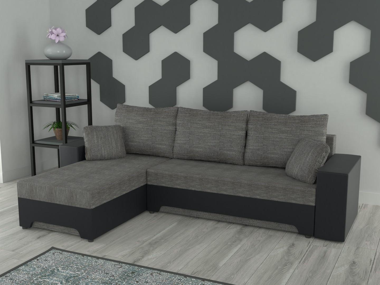 Rohová sedačka GALAXI univerzální, šedá látka/černá ekokůže