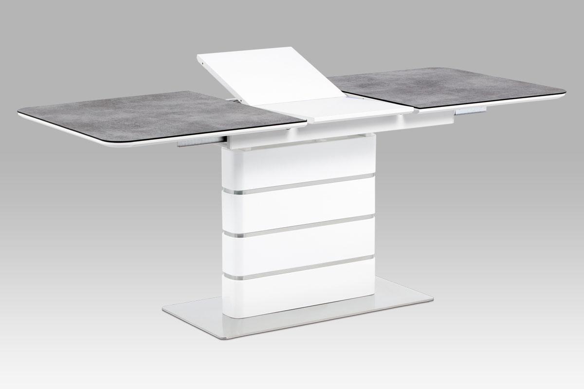 Smartshop Jídelní stůl HT-455 GREY, šedé sklo/bílý lesk/broušený nerez