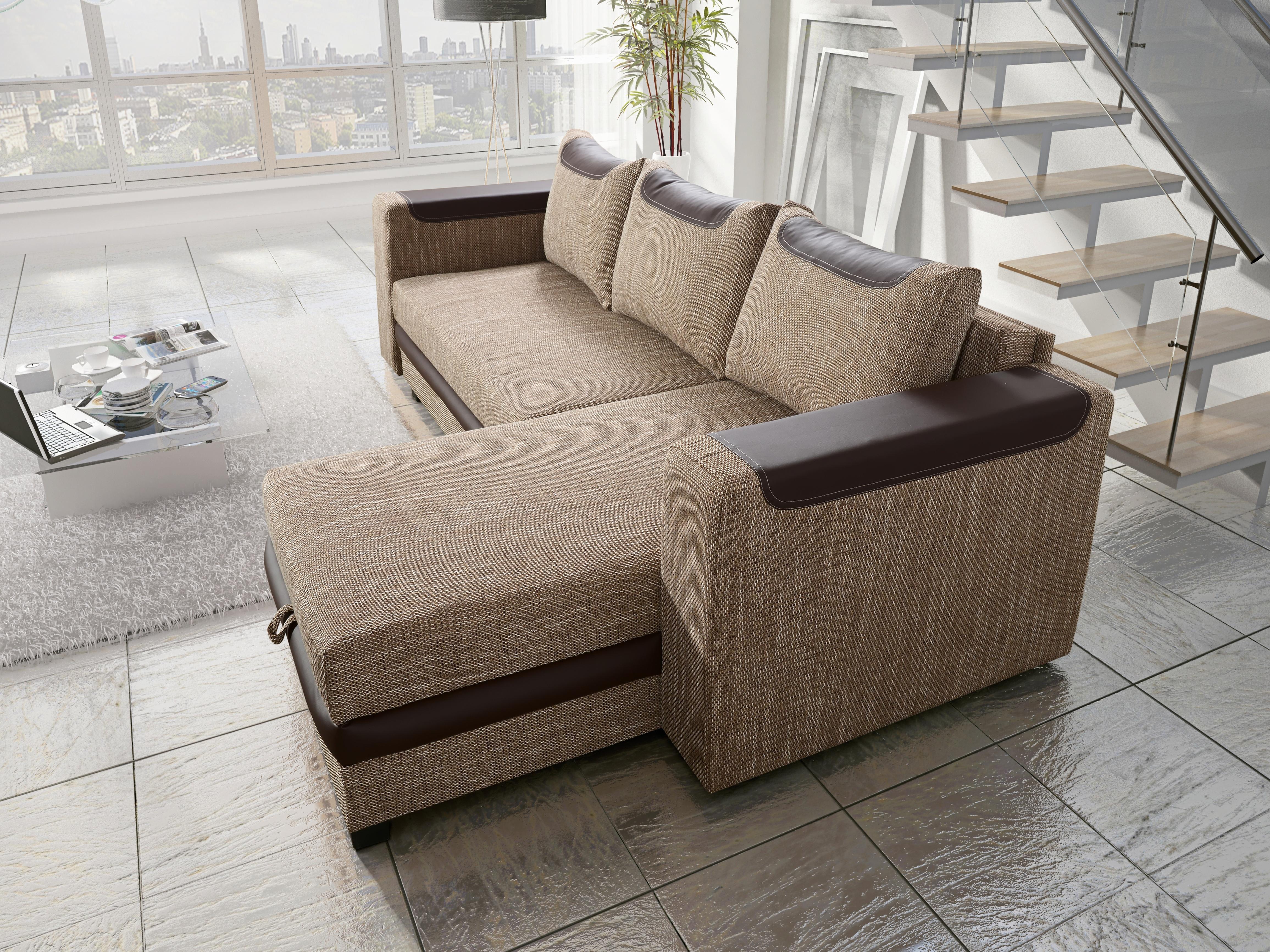 Rohová sedačka BONO 3 univerzální roh, hnědá látka prošitá bílou a béžovou nití/tmavě hnědá ekokůže