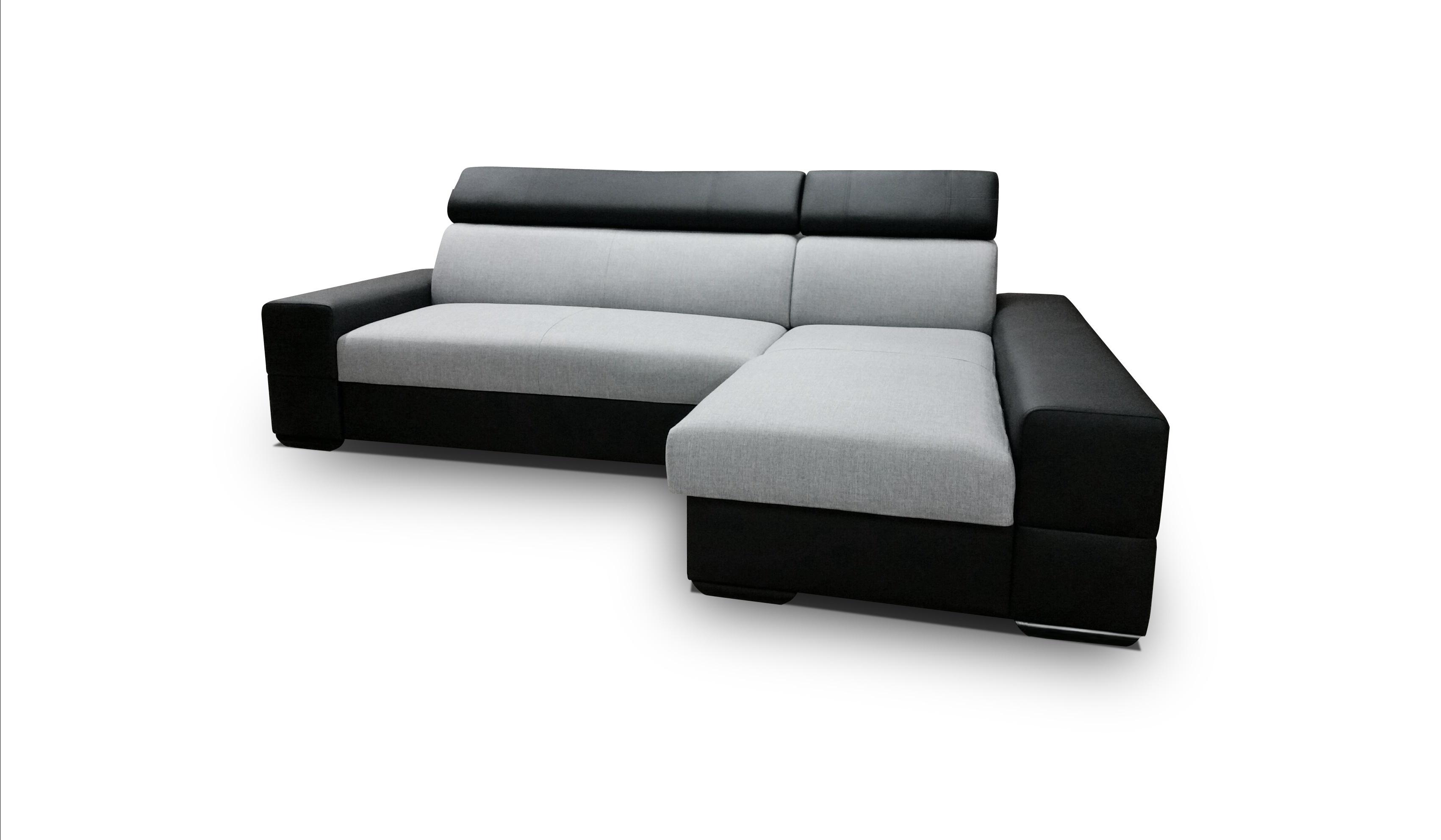 Smartshop Rohová sedačka CORTINA 3, pravá, šedá látka/černá ekokůže