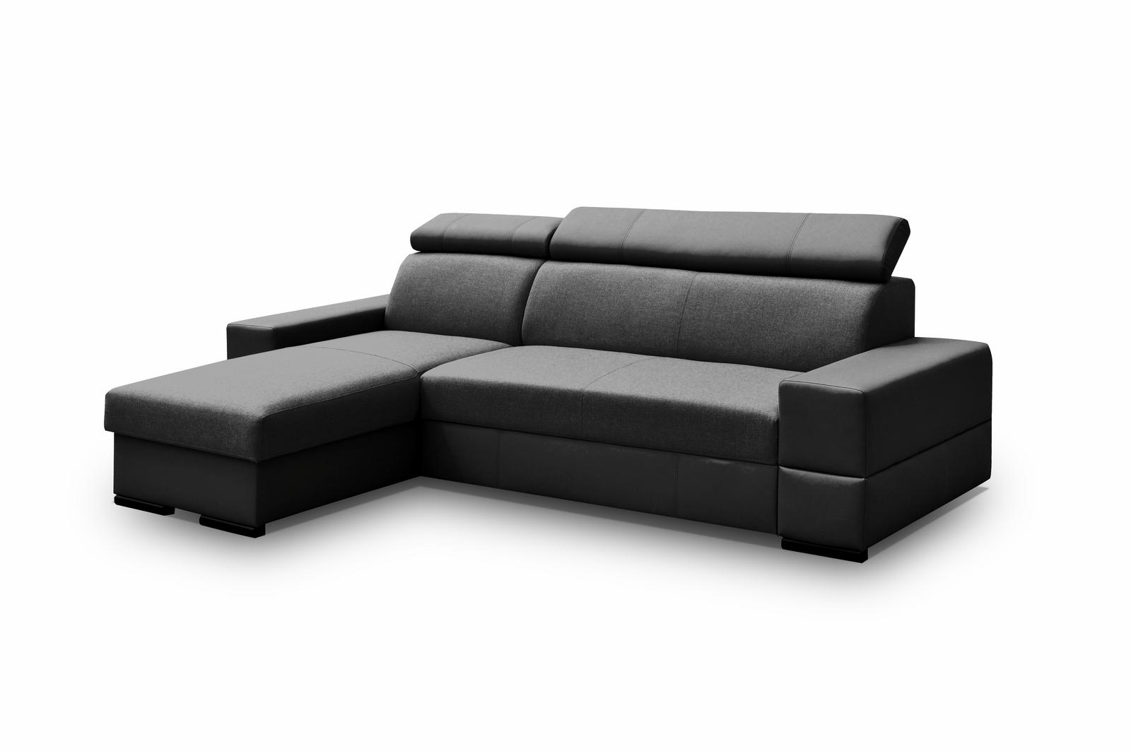 Smartshop Rohová sedačka CORTINA Flexi 3, univerzální, černá látka/ černá ekokůže