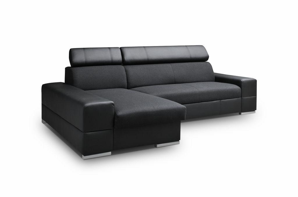 Smartshop Rohová sedačka CORTINA 5, levá, černá látka/černá ekokůže