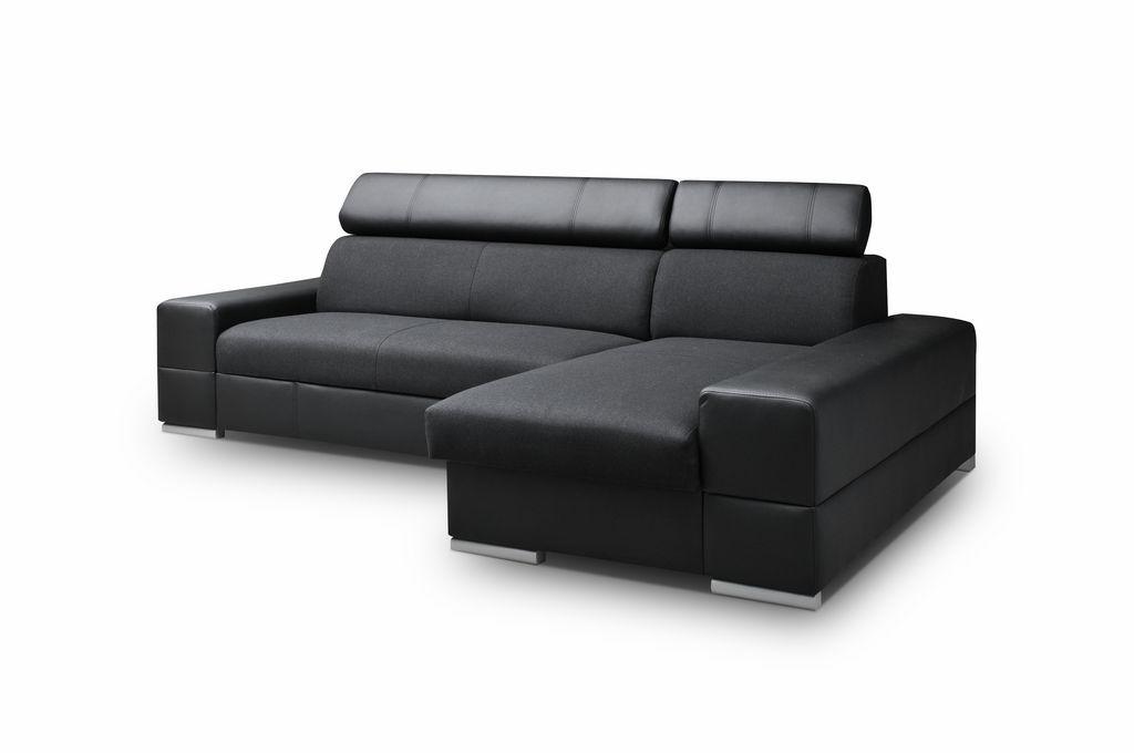 Smartshop Rohová sedačka CORTINA 5, pravá, černá látka/černá ekokůže