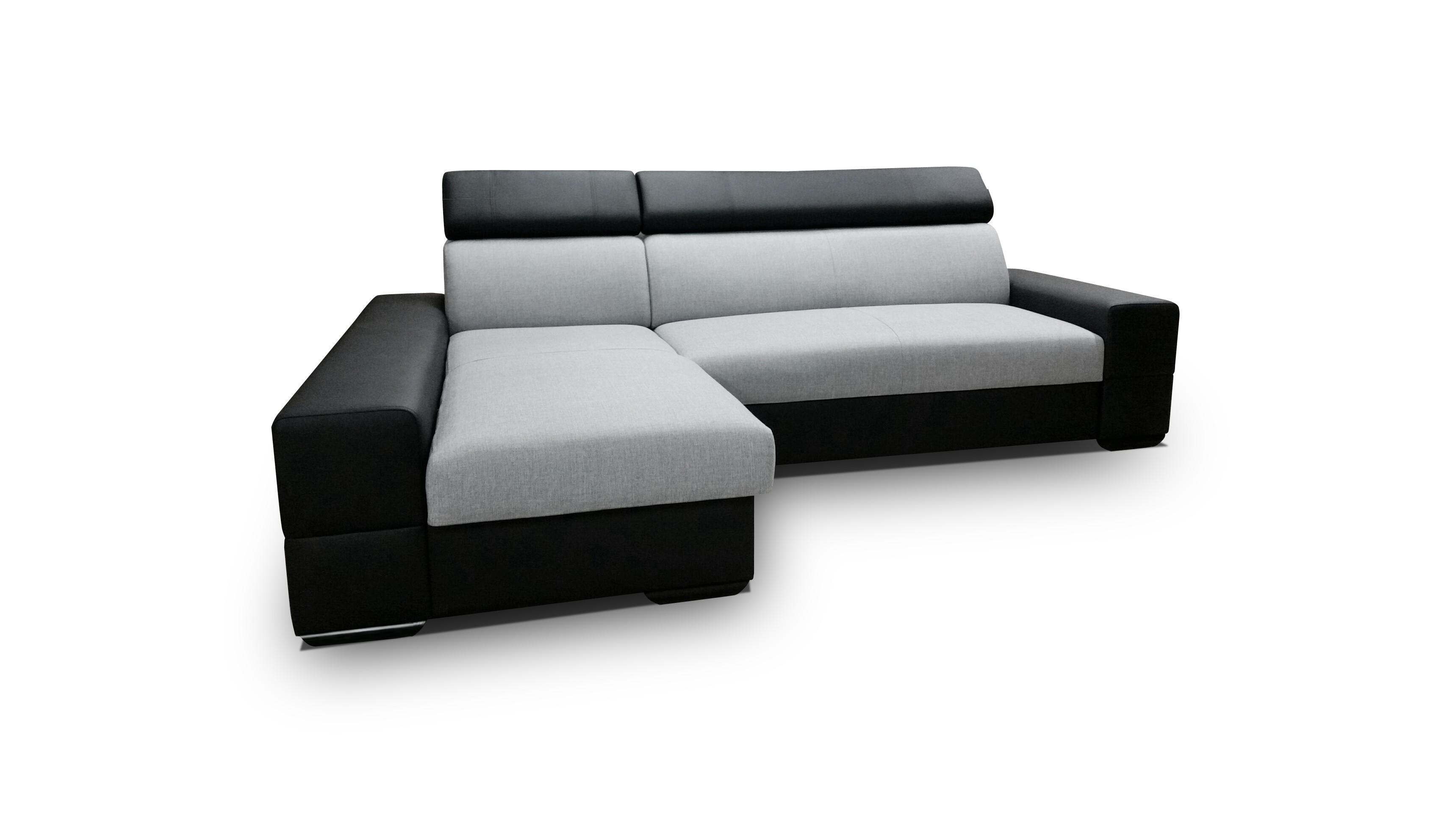 Smartshop Rohová sedačka CORTINA 3, levá, šedá látka/černá ekokůže