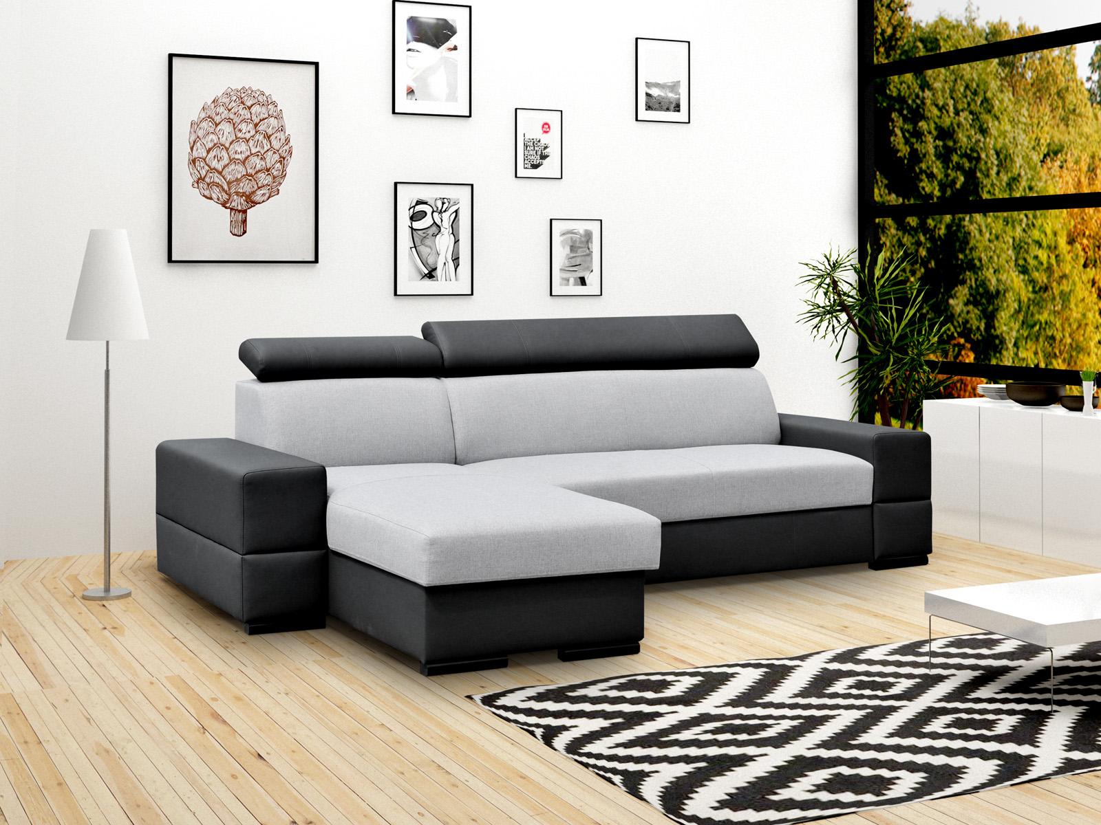 Smartshop Rohová sedačka CORTINA Flexi 2, univerzální, šedá látka/černá ekokůže