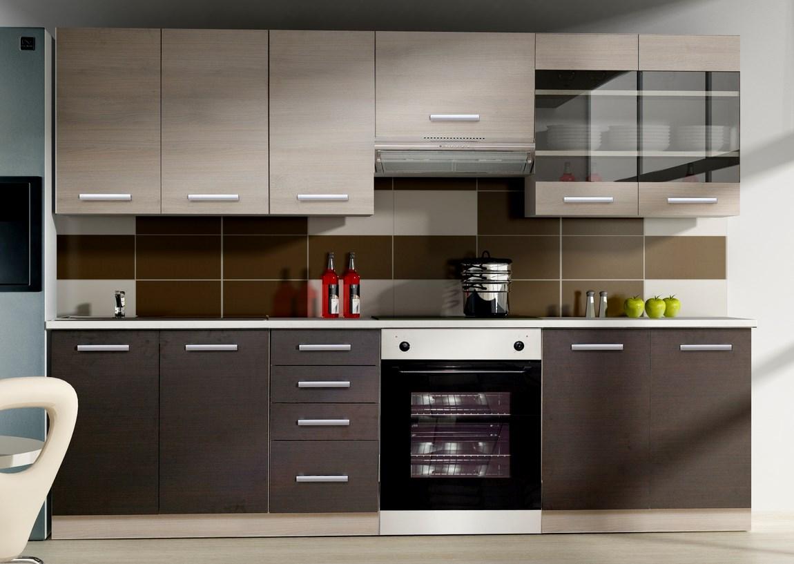 Smartshop Kuchyně CAMONIX 180/240 cm, tmavé legno/dub ferrara