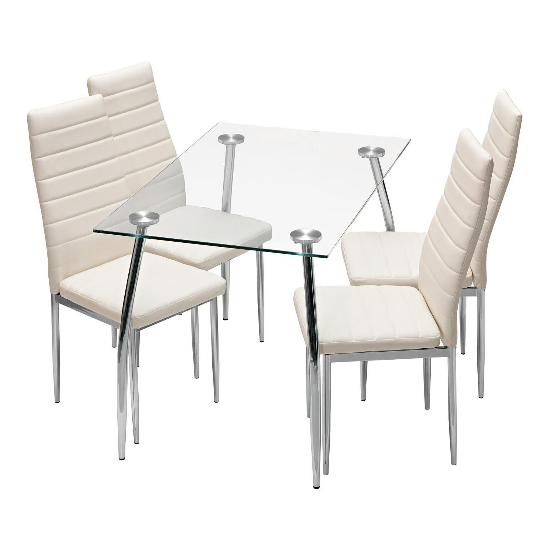 Jídelní stůl LATRAN + 4 židle SNAEFELL krémově bílá