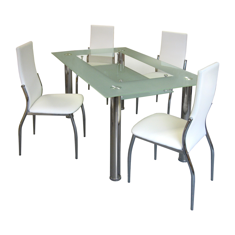 Jídelní stůl VENEZIA + 4 židle IBIZA krémově bílá