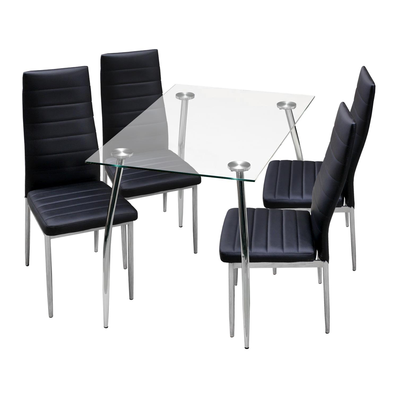 Jídelní stůl LATRAN + 4 židle SNAEFELL černá