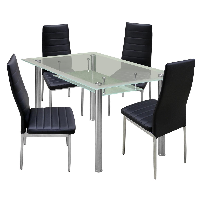Jídelní stůl PATKAI + 4 židle SNAEFELL černá
