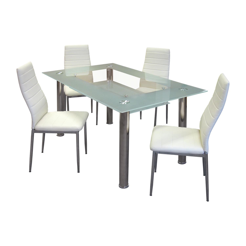 Jídelní stůl VENEZIA + 4 židle MILÁNO krémově bílá