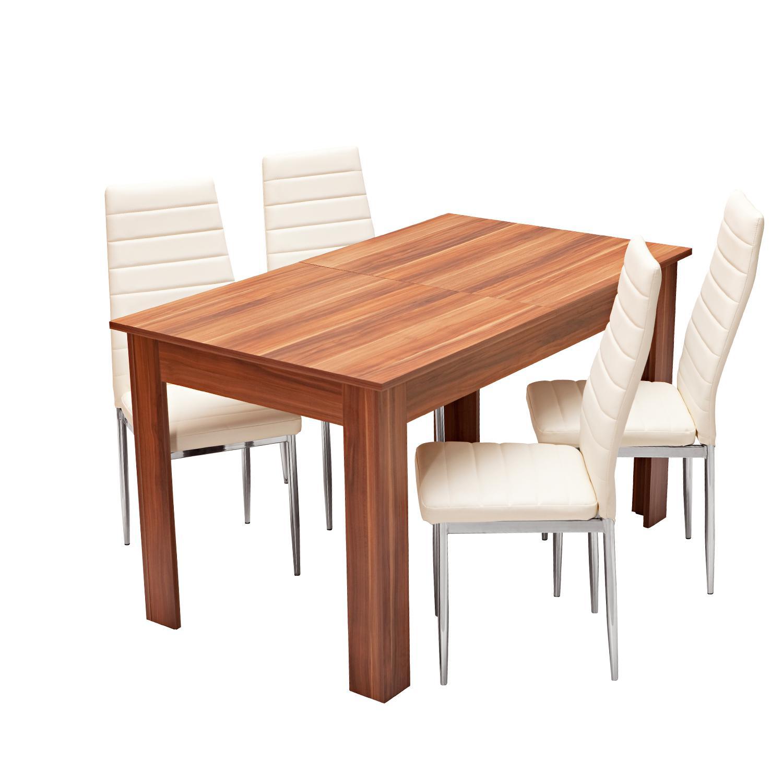 Jídelní stůl rozkládací 61605 + 4 židle MILÁNO krémově bílá