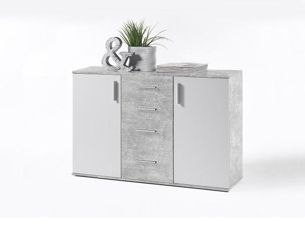 POPPY 5 komoda, bílá / beton