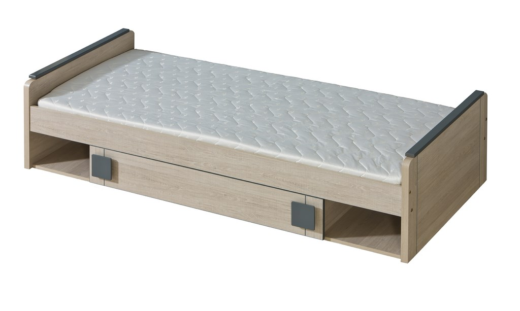 GIMMI, postel s úložným prostorem G13 bez matrace, dub santana/hnědá