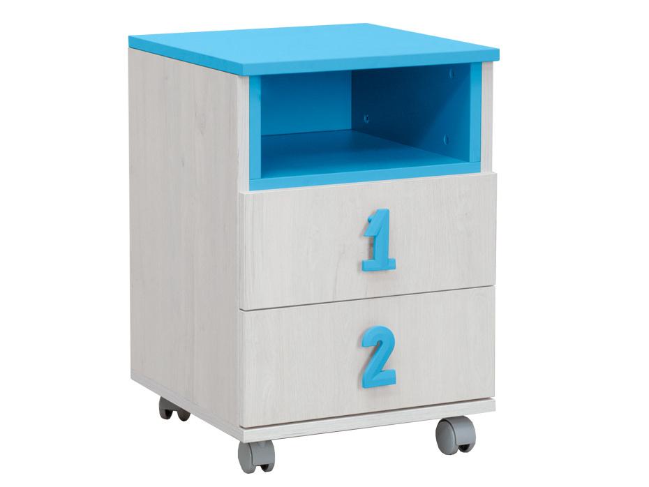 NUMERO komoda 2F NIKA, dub bílý / modrá