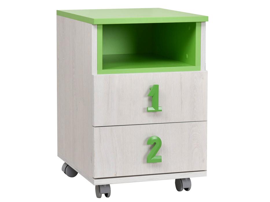 MATIS NUMERO komoda 2F NIKA, dub bílý/zelená