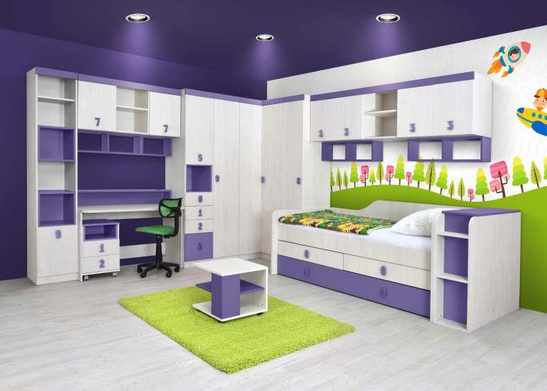 Dětský pokoj STUKIN, dub bílý/fialová