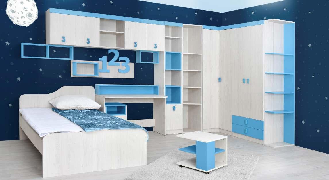 Dětský pokoj STUKIN, dub bílý/modrá