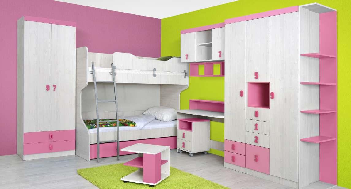 NUMERO dětský pokoj - vzorová sestava, dub bílý/růžová