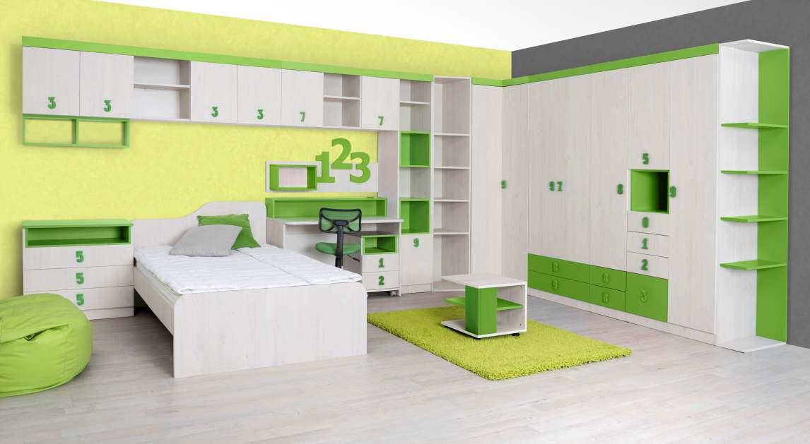 Dětský pokoj STUKIN, dub bílý/zelená