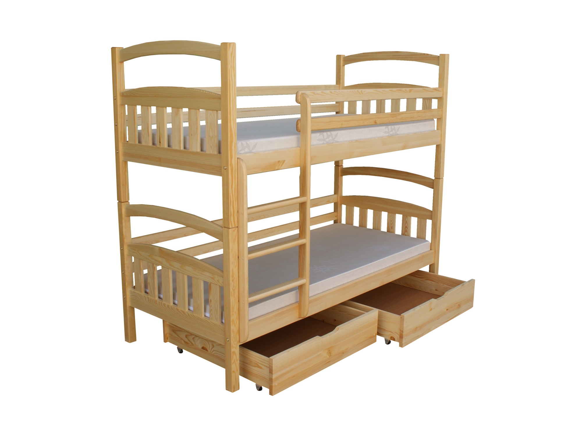 Patrová postel včetně roštů KÁRL DUO 90x200 cm, masiv borovice