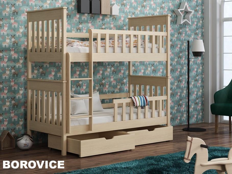 Smartshop Patrová postel s rošty a úložnými prostory OLIWIER 90x200 cm, masiv borovice/barva: .