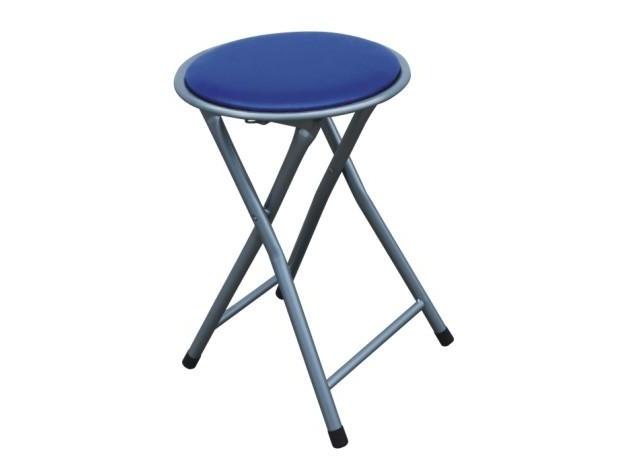 Skládací stolička ERETI (taburet), modrá/stříbrná