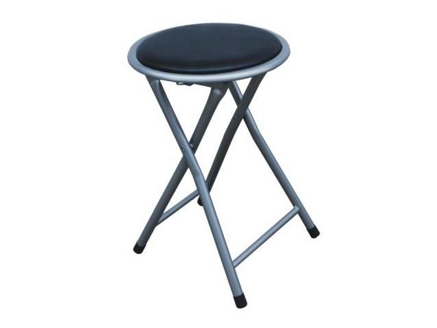 Skládací stolička ERETI (taburet), černá/stříbrná