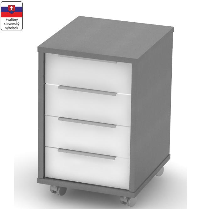 Smartshop Kontejner RIOMA typ 30 se 4 šuplíky na kolečkách se zámkem, grafit/bílá