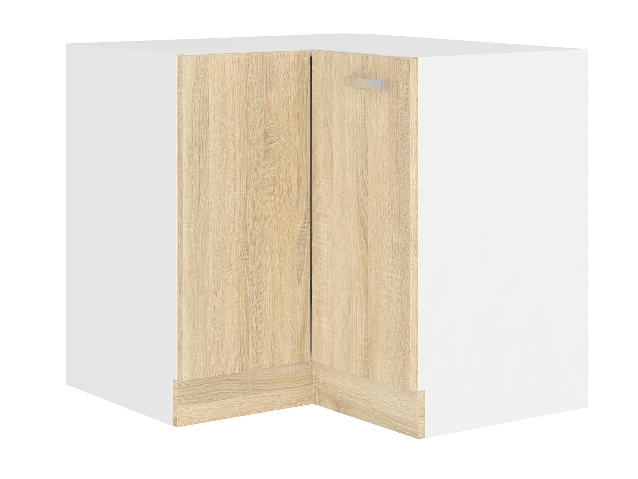 SARA SONOMA, skříňka dolní rohová 89/89 cm, 90/90 DN BB, bílá/dub sonoma