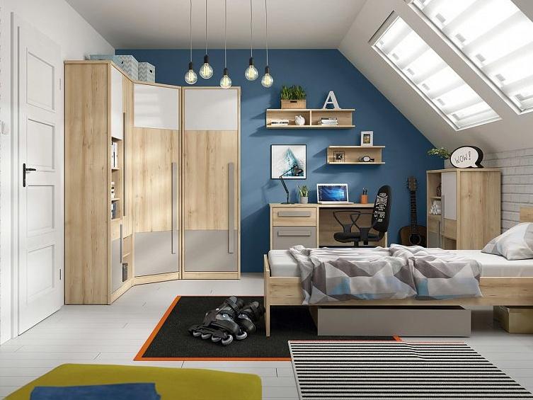 JERIMOTH dětský pokoj, buk iconic/bílý lesk/šedá