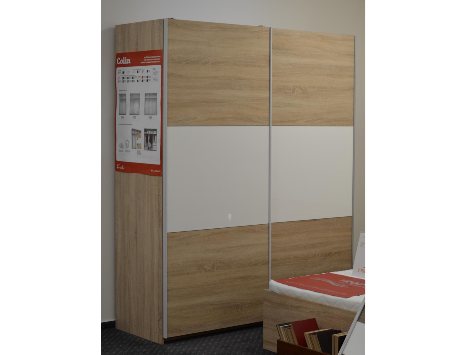 Skříň COLIN 183 cm, dub sonoma + bílý lesk - EXPOZICE
