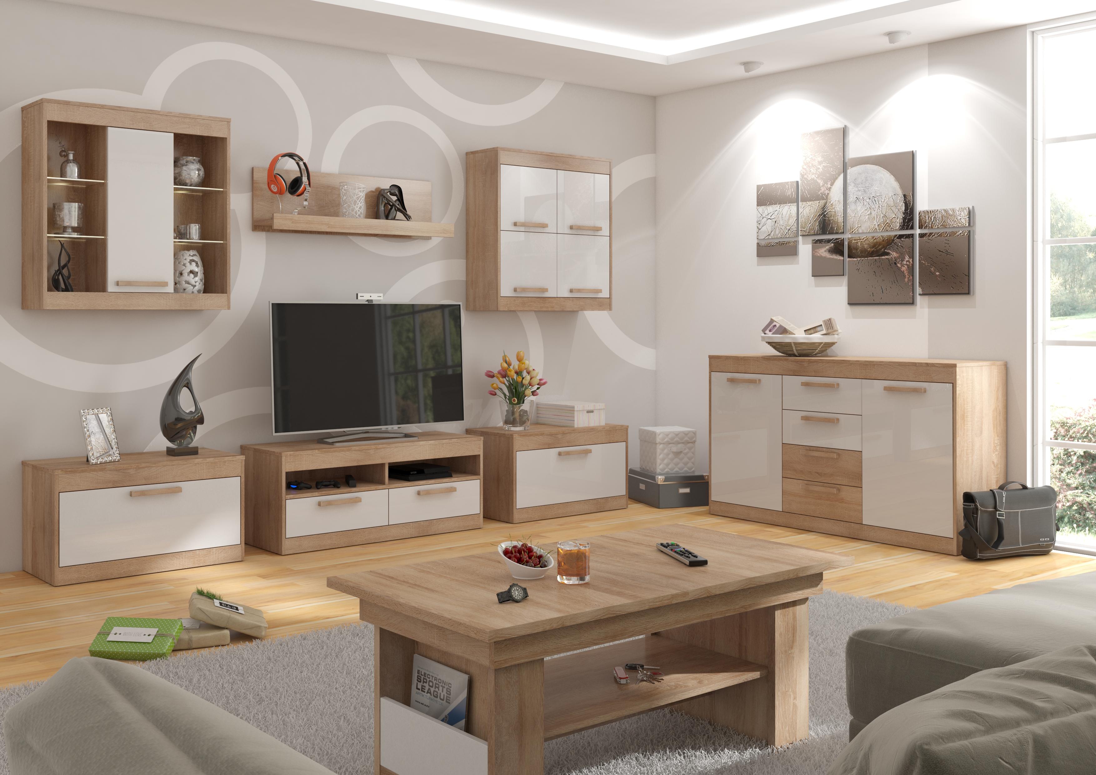 Obývací pokoj GATTON 1, dub sonoma/bílý lesk, 5 let záruka